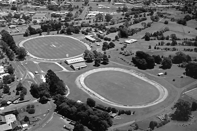 An aerial view of the Velodrome - looking southwest. (Note the gravel track around the Oval in the background)