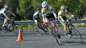 Bernadette leading B grade with one lap to go.