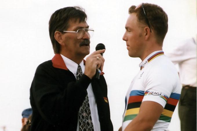 Stuart Doyle interviewing Shane Kelly.   1996