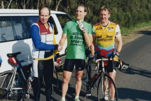 John Sauvarin - Tony Smith - Steve Wilson President John Sauvarin congratulates Tony on winning the Lex Watt trophy. - Whitelaws track 1992